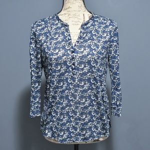 H&M V-Neck Floral Blouse w/ 3/4 Sleeves